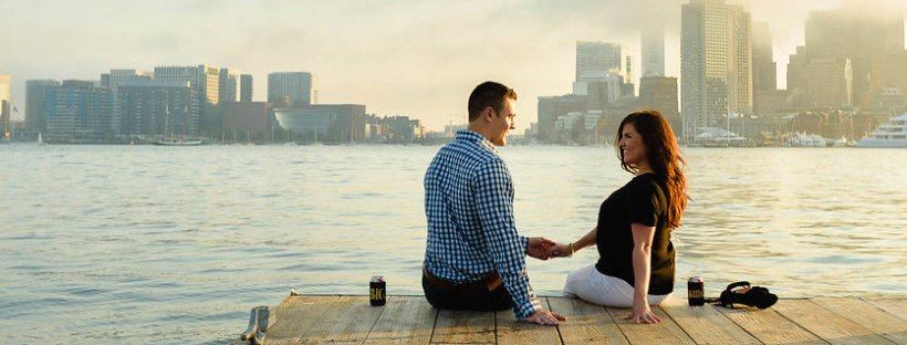 Sunset Pier Engagement Session on The Boston Bride Bridal Blog