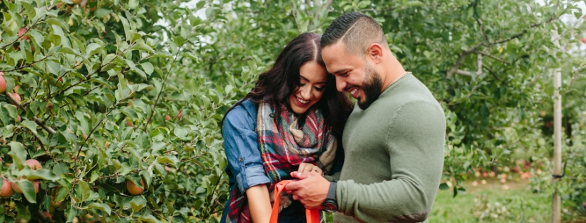 Apple Orchard Engagement Session on The Boston Bride a Wedding Blog