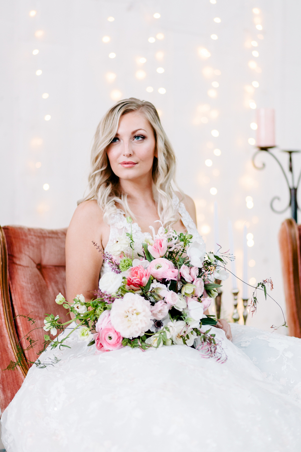 Industrial Blush and Gold Styled Shoot at the Norwood Space Center on The Boston Bride